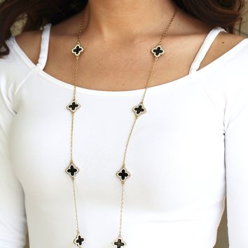Rhinestone Clovers on Chain Long Necklace