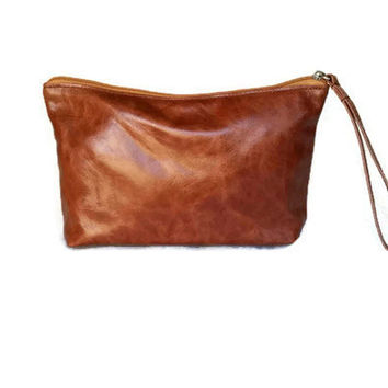 Whisky leather clutch handbag rustic retro pouch fashion everyday small bag  handmade cosmos