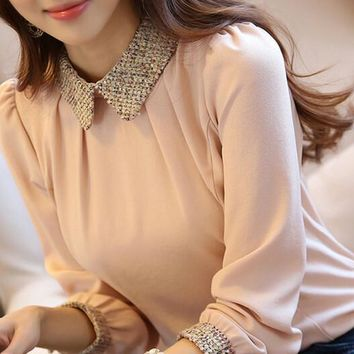new fashion Korean lady long sleeve lace chiffon shirt peter pan collar lantern sleeve women blouse 2015 camisas blusa