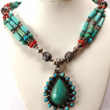 Turquoise Beaded Neckace- Sterling Turquoise Pendant - Red Coral Beaded Necklace - Gift For Her - Statement Necklace- Big Turquoise Pendant