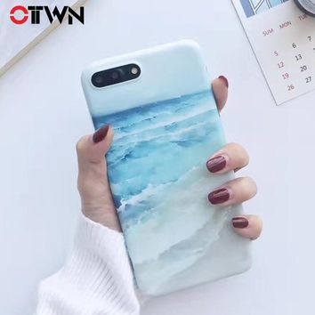 Ottwn Blue Ocean Waves Phone Case For iphone X 8 7 6 6s 5 5s SE Love Heart Sea Pattern Soft IMD Back Cover Case For iPhone 7 8