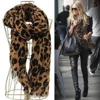 OVANA Women Fashion Leopard Pattern Animal Print Shawl Scarf Wrap