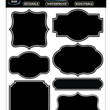 42 Vintage Black Vinyl Chalkboard Kitchen Pantry Labels for Canning, Mason or Spice Jars - Best Chalk Board Stickers for Liquid Chalk Ink