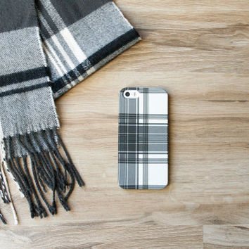 Winter White Plaid iPhone 6 Case, Tartan iPhone 5S Case, Black and White Monogram iPhone 5C Case, Galaxy s4 / s5, Personalized iPhone 6 Plus
