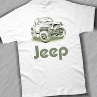Jeep Drawing T-Shirt in White or Ash Grey or Sand S,M,L,XL