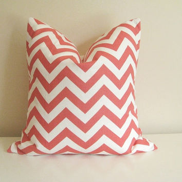 Coral Pillow Cover. Chevron. 16 X 16 Inch. Accent Pillow. Toss Pillow. Coral Pink and White.