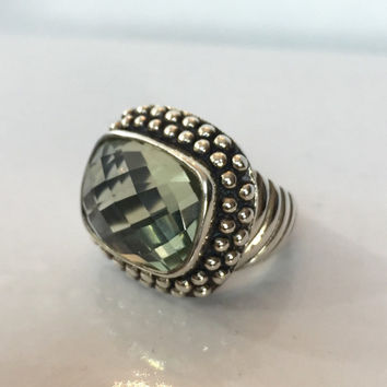 Green Amethyst Statement Ring, Sterling Silver Band, Large Genuine Cushion Cut Gemstone Ring, Valentine Gift for Her, Vintage Estate Jewelry