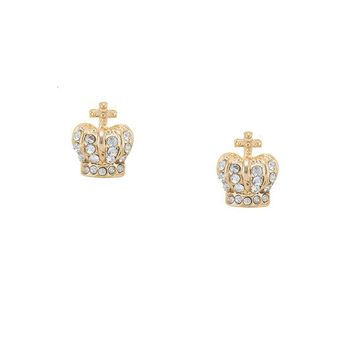 14K Yellow Gold Pave Queen's Crown Stud Earrings