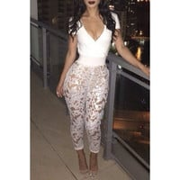 Attractive Plunging Neck See-Through Lace Spliced Jumpsuit For Women