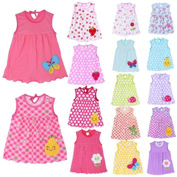 Flower Printed Princess Clothes Baby Girl Dress Clothes Fashional Clothes Sleeveless Pure Breathable Cotton Soft Dress 1-2Y Baby