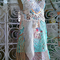 Silk Embroidery handstitched Dress, Bohemian Wedding dress, Vintage linens and lace, All Things Pretty