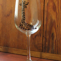 Hand Painted Giraffe Wine Glass