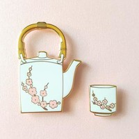Sakura Tea Pin Set - White or Black