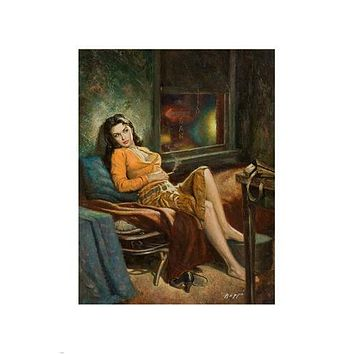 PIN-UP GIRL PAINTING LOVELY BRUNETTE POSTER buxom laid back 24X36