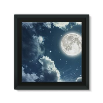 Cloudy Night Sky With a Full Moon Framed Canvas