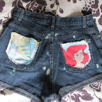 Vintage Little Mermaid Ariel Disney Destroyed Acid Wash Denim Coachella Disneyland Jean Shorts