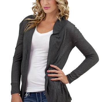 Solid Long Sleeve Open Cardigan Charcoal