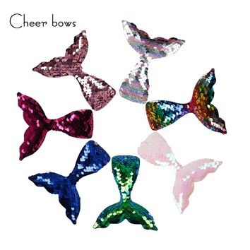 5pcs/lot Mermaid Tail Patches With Hole 2-Color Reversible Sequin DIY Hair Bow Decoration Kids Birthday Party Hair Accessories