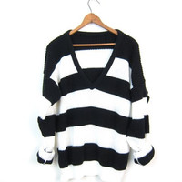80s Black White Striped Sweater Vneck Pullover Slouchy Loose Knit Sweater Retro Mod Hipster Sweater Grunge Sweater 1980s Womens Medium Large
