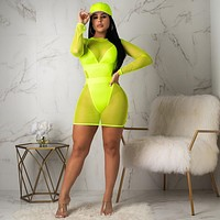 Women Sexy Two Piece Long Sleeve Mesh Cover Up Swimsuit Set