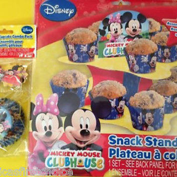 DISNEY MICKEY MOUSE+MINNIE MOUSE SNACK STAND & CUPCAKE COMBO PACK PARTY FAVORS