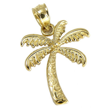 SOLID 14K YELLOW GOLD HAWAIIAN SCROLL PALM TREE CHARM PENDANT SMALL 14MM
