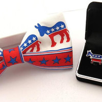 Democrat Clip On Bow Tie And Stainless Steel Cuff Links