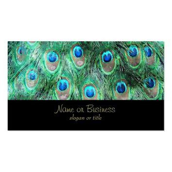 Peacock Feathers Exotic Wild Watercolor Pattern Business Card