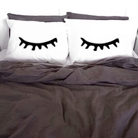 Pillowcases Sleepy Eyes White Pillow cases 100% Cotton Printed Pillows Gift Closed Sleeping Eyes Lashes Pillow Case Set Cover KYOUSTUFF