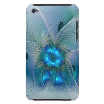 Standing Ovations, Abstract Blue Turquoise Fractal iPod Touch Case-Mate Case