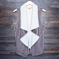 sherpa vest in chocolate brown