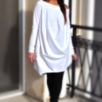 Plus Size White Dress / Off Shoulders Loose Casual Tunic / Extravagant Long Sleeves Maternity Top / Evening Dress / Maxi Skirt /