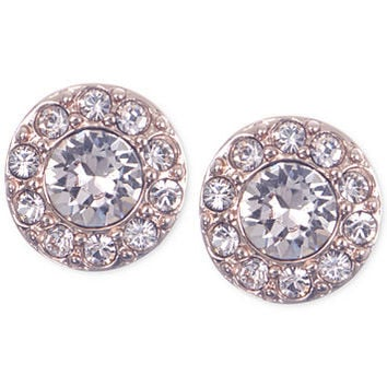 Givenchy Rose Gold-Tone Small Pavé Stud Earrings | macys.com