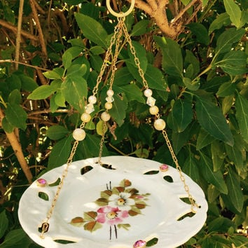 Hanging Dish Bird Feeder, Vintage Recycled Dish, Ceramic Dish Feeder, Garden Yard Art, Repurposed Upcycled, Home Decor Accent, Gift Idea