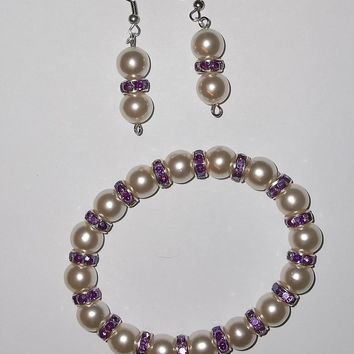 White Pearl Bead & Purple Swarovski Crystal Stretch Bracelet & Earring Set