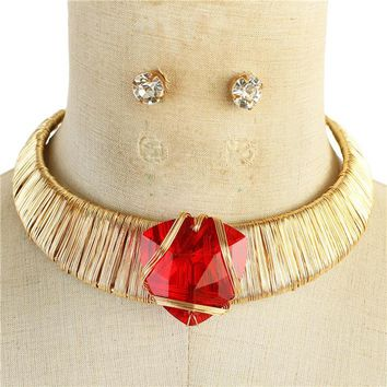 "14"" gold red crystal wire wrap metal choker necklace .50"" earrings"