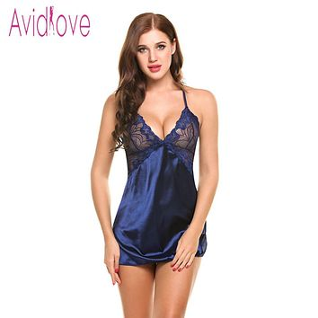 Avidlove Sexy Nightgown Lingerie Fashion Patchwork Nightdress Women Sheer Scalloped Satin Nightwear Silk Slip Sleepwear Chemises