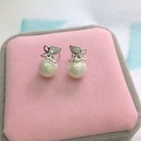 Fashion pearl and butterfly 925 sterling silver earrings