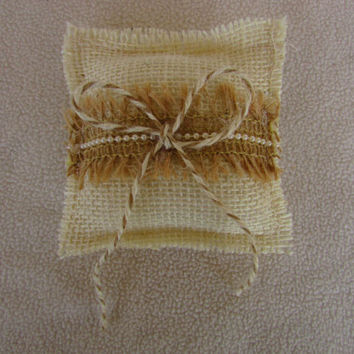 Small Ivory Burlap Ring Pillow with Fringed Burlap and Pearls Trim