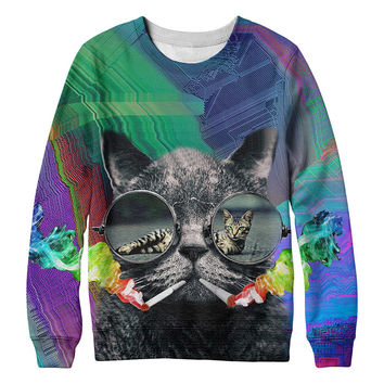 Hipster heavy smoker Cat whimsical kitty with steam punk glasses 3D Sweater