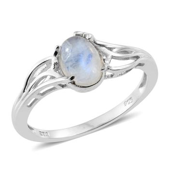 Rainbow Moonstone Platinum Over Sterling Silver Solitaire Ring