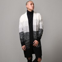 Mens Gradation Knitting Extended Overlong Cozy Cardigan at Fabrixquare