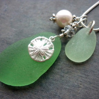 Green Sand Dollar Sea Glass Necklace Beach Glass Jewelry Pendant Sterling