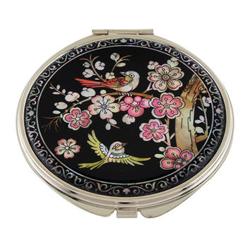 Mother of Pearl Pink Flower Bird 2x Magnification Double Compact Cosmetic Makeup Vanity Folding Mini Purse Beauty Pocket Mirror