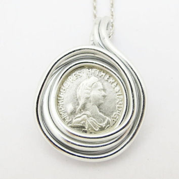 ON SALE Silver Coin Pendant, Coin Mens Pendant, Mens Coin Jewelry, Wire Wrapped Pendant, Simple Silver Pendant, Silver Charm Pendant, Gift F