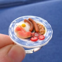 Miniature Food Jewelry English Fried Breakfast Ring