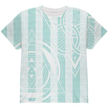 Summer Sacred Geometry Teal Stripes All Over Youth T Shirt
