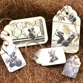 Mice Bookmarks or Gift Tags - Vintage Children's Book Illustrations - Set of 5