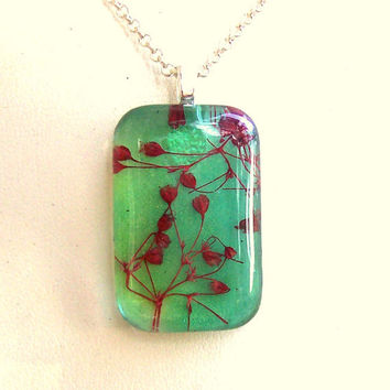 Babys Breath Real Dried Flower Glass Turquoise Pendant Necklace