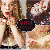 Blowing Glitter Photoshop Overlays: Confetti  Photo layer, Bokeh blow magic Pixie dust  effect, Marketing board wedding and mini Sessions
